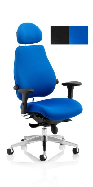 CDP0102 Dual Lumbar Fabric 24 Hour Ergonomic Posture Executive Office Chair With Headrest Chiropractor Approved Colours