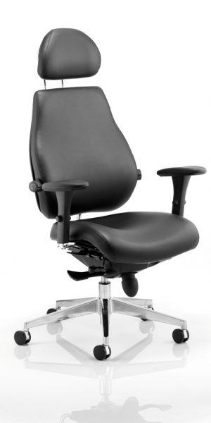 CDP0103 Black Leather Dual Lumbar Posture 24 Hour Ergonomic Executive Office Chair With Headrest Chiropractor Approved