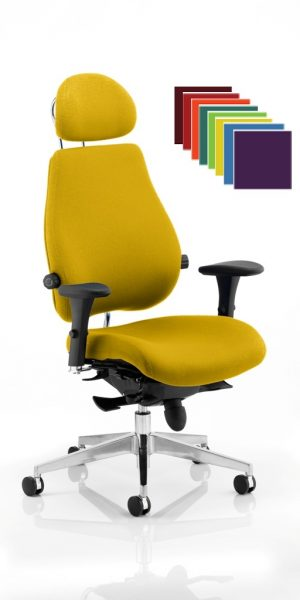 CDP0108 Bespoke Fabric Dual Lumbar Posture 24 Hour Ergonomic Executive Office Chair Headrest Colours