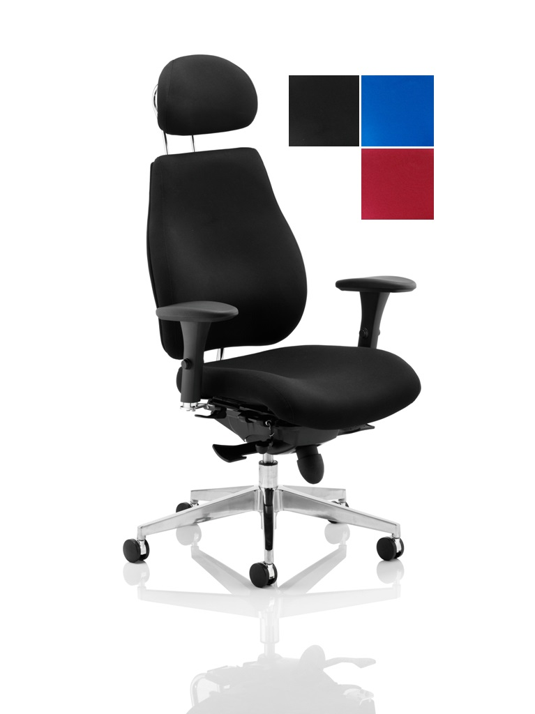 CDP0151 Plus Black Fabric 24 Hour Ergonomic Posture Executive Office Chair With Headrest Chiropractor Approved Colours