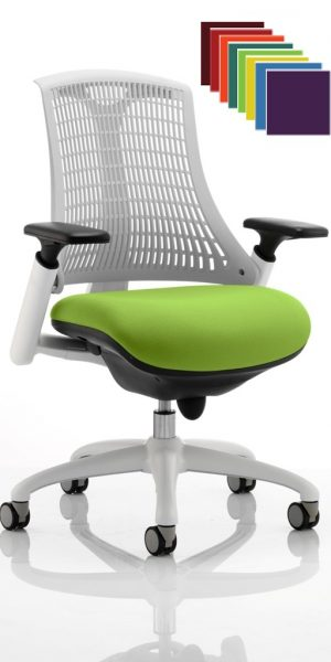 CDP0338 Flexible Elastomer Back White Frame Task Operator Office Contemporary Designer Chair Colours