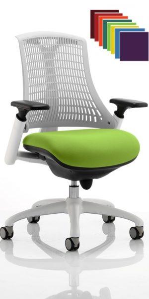 CDP0338 Flexible Elastomer Back White Frame Task Operator Office Contemporary Designer Chair Colours