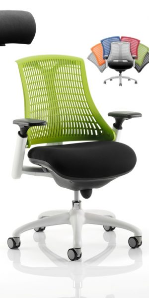 CDT0303 Flexible Elastomer Back Black Fabric Base White Frame Task Operator Office Chair Optional Headrest Colours