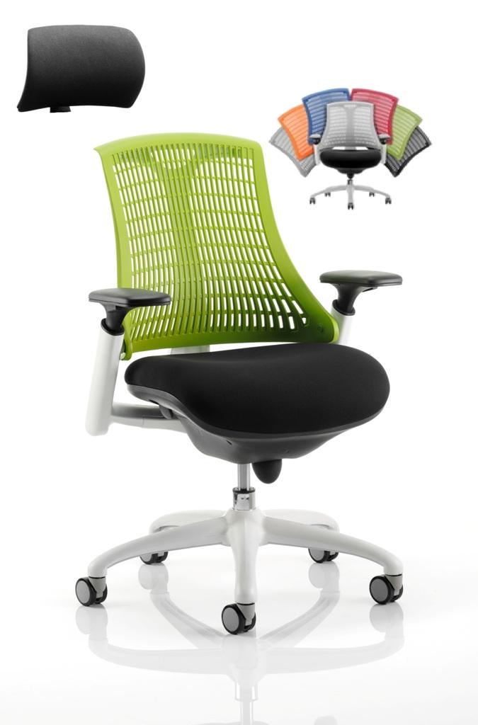 CDT0303 Flexible Elastomer Back Black Fabric Base White Frame Task Operator Office Chair Optional Headrest Colours