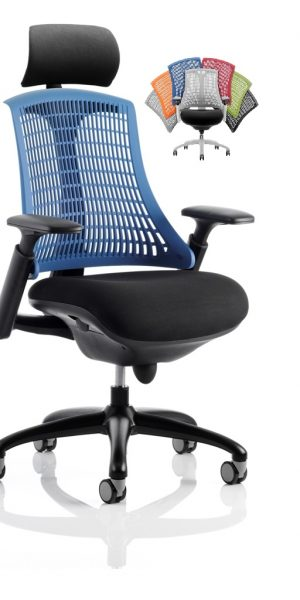 CDT0327 Flexible Elastomer Back Black Fabric Base And Frame Task Operator Office Chair Optional Headrest Colours