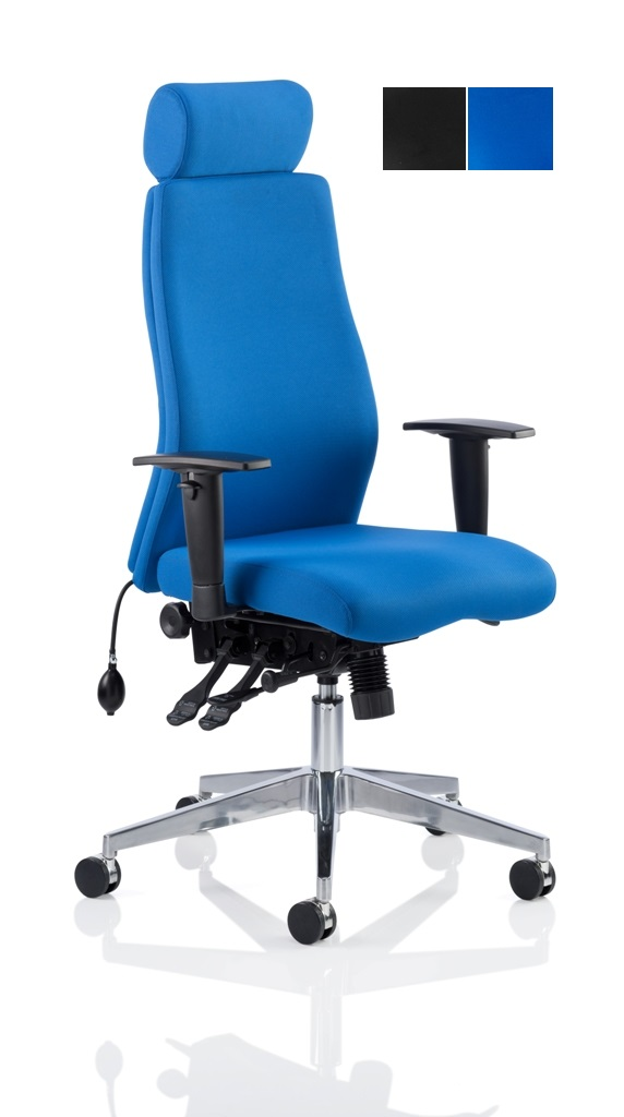 CDP0403 Blue Fabric Air Lumbar Posture 24 Hour Ergonomic Executive Office Headrest Chair Front Angle 2