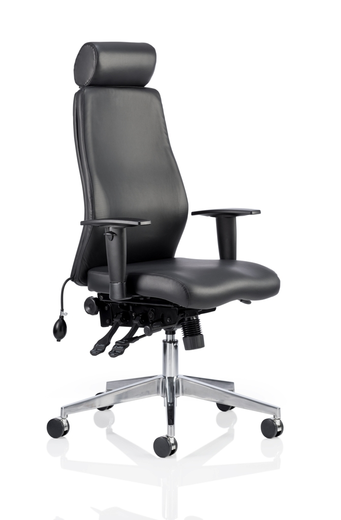 CDP0405 Black Leather Air Lumbar Posture 24 Hour Ergonomic Executive Office Chair Headrest Front Angle