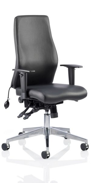 CDP0406 Black Leather Air Lumbar Posture 24 Hour Ergonomic Executive Office Chair Front Angle