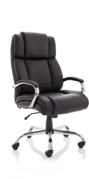 CDH0201 Sumptuously Deep Black Leather Heavy Duty Office Chair Has Max Weight Capacity 35 stone 222kg Front Angle