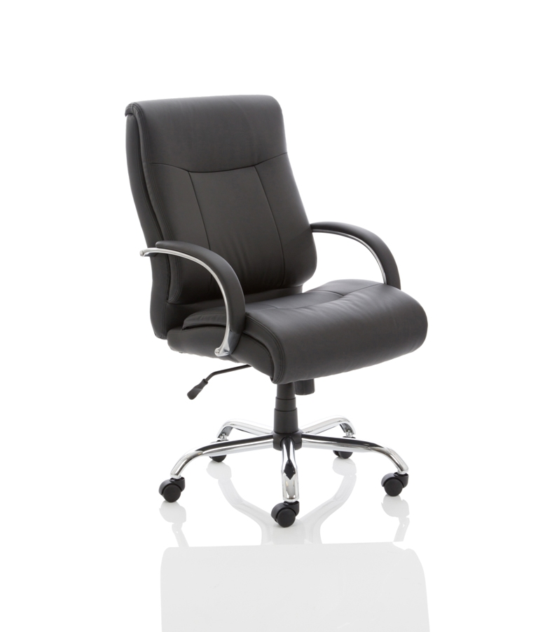 CDH0301 Extra Deep Black Leather Heavy Duty Office Chair Has Max Weight Capacity 32 stone 200kg Front Angle