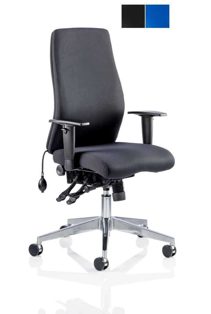 CDP0402 Black Fabric Air Lumbar Posture 24 Hour Ergonomic Executive Office Chair Front Angle 2