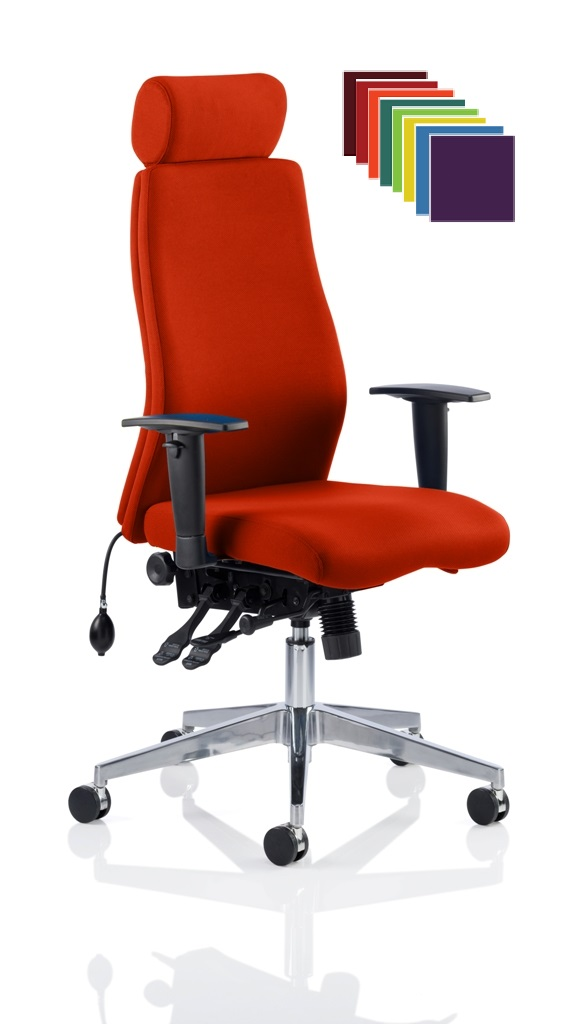 CDP0412 Bespoke Fabric Air Lumbar Posture 24 Hour Ergonomic Executive Office Chair Headrest Tortuga YS168 Tabasco Red 2