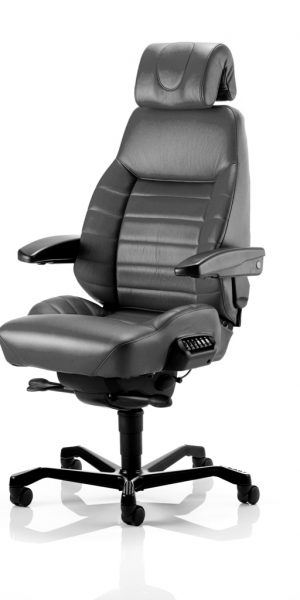 KAB Seating ACS Executive Leather Heavy Duty 24 Hour Office Chair With Headrest And Lumbar Support