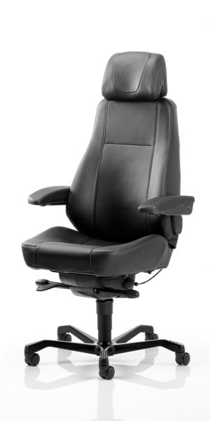 KAB Seating Director Leather Heavy Duty 24 Hour Office Chair With Headrest And Lumbar Support