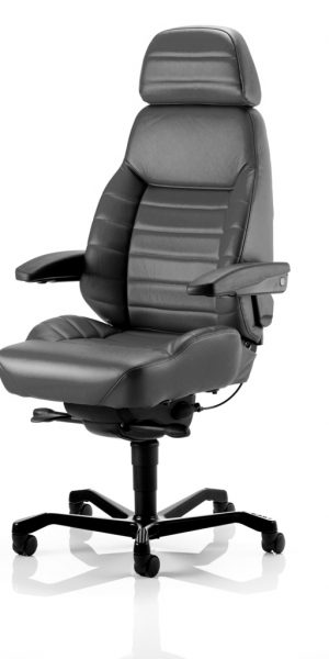KAB Seating Executive Leather Heavy Duty 24 Hour Office Chair With Headrest And Lumbar Support