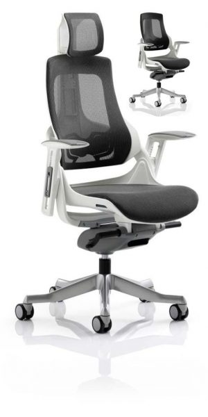 CDE0102 Charcoal Mesh Designer Executive Operator Office Chair Ergonomic Lumbar Support With Armrests And Headrest