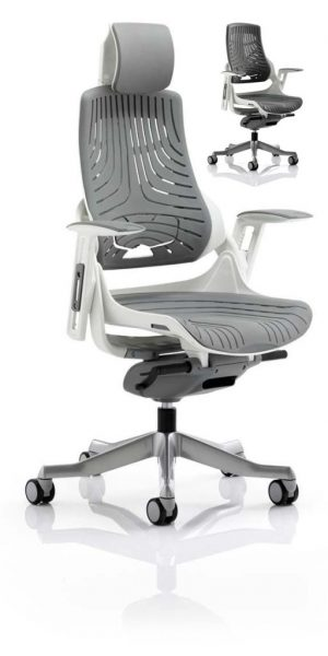 CDE0104 Grey Elastomer Gel Designer Executive Operator Office Chair Ergonomic Lumbar Support With Armrests And Headrest