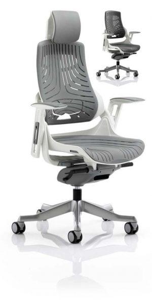 CDE0104 Grey Elastomer Gel Designer Executive Operator Office Chair Ergonomic Lumbar Support With Armrests And Headrest