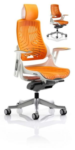 CDE0105 Orange Elastomer Gel Designer Executive Operator Office Chair Ergonomic Lumbar Support With Armrests And Headrest
