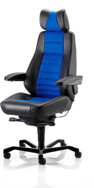 KAB Seating Controller Heavy Duty Office Control Room Chair Half Leather Mid Blue Fabric With Headrest And Lumbar Support