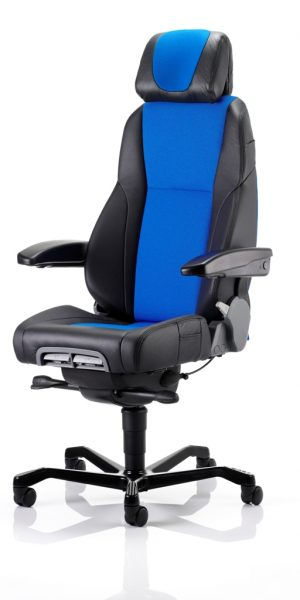 KAB Seating K4 Premium Controller Heavy Duty Office Control Room Chair Half Leather Mid Blue Fabric With Headrest And Lumbar