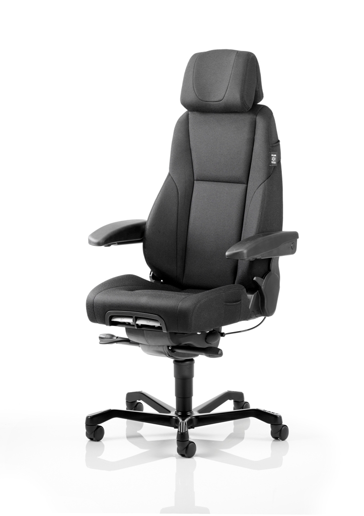 KAB Seating K4 Premium Heavy Duty Black Fabric Office Chair With Seat Slide Headrest And Lumbar Support